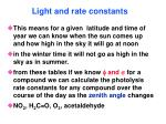 light and rate constants82