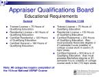 appraiser qualifications board educational requirements