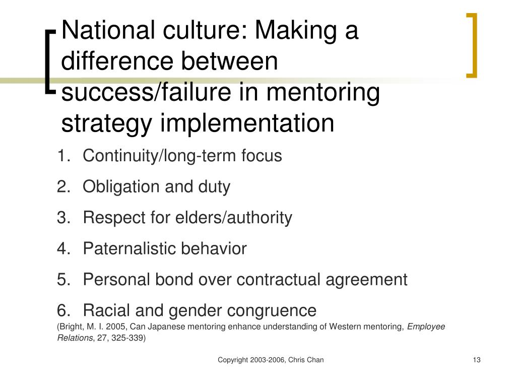 National culture: Making a difference between success/failure in mentoring strategy implementation