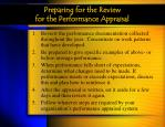 preparing for the review for the performance appraisal