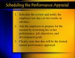scheduling the performance appraisal
