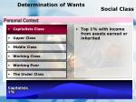 determination of wants social class
