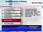 determination of wants social class70