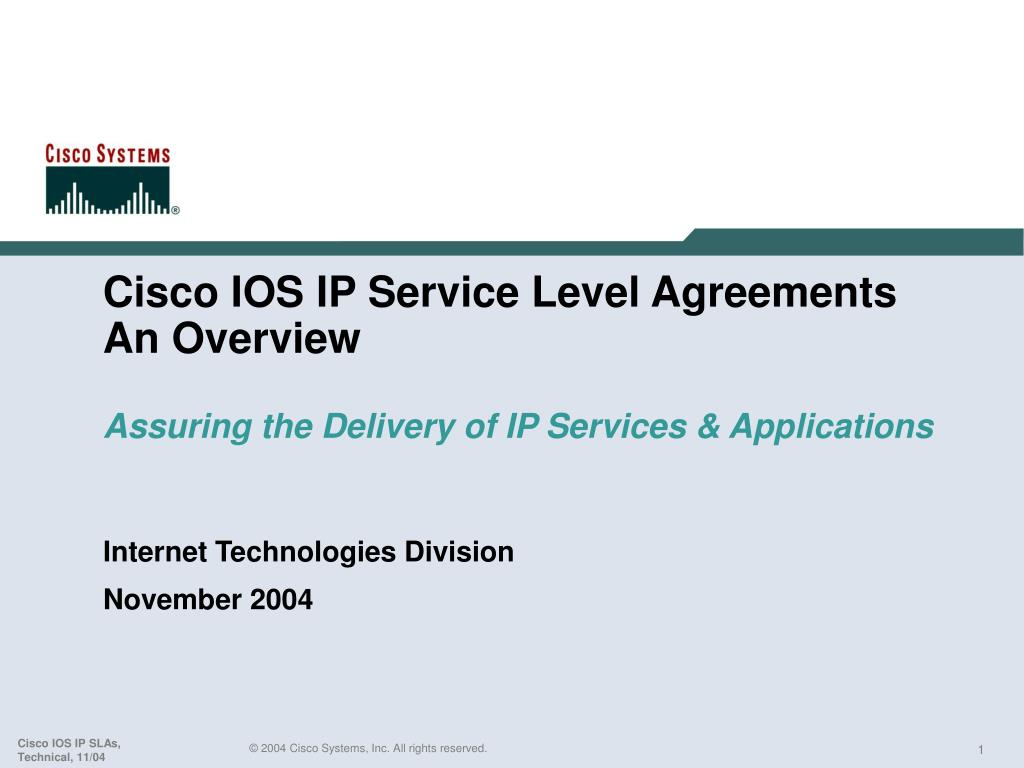 cisco ios ip service level agreements an overview assuring the delivery of ip services applications l.