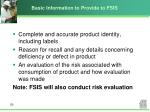 basic information to provide to fsis