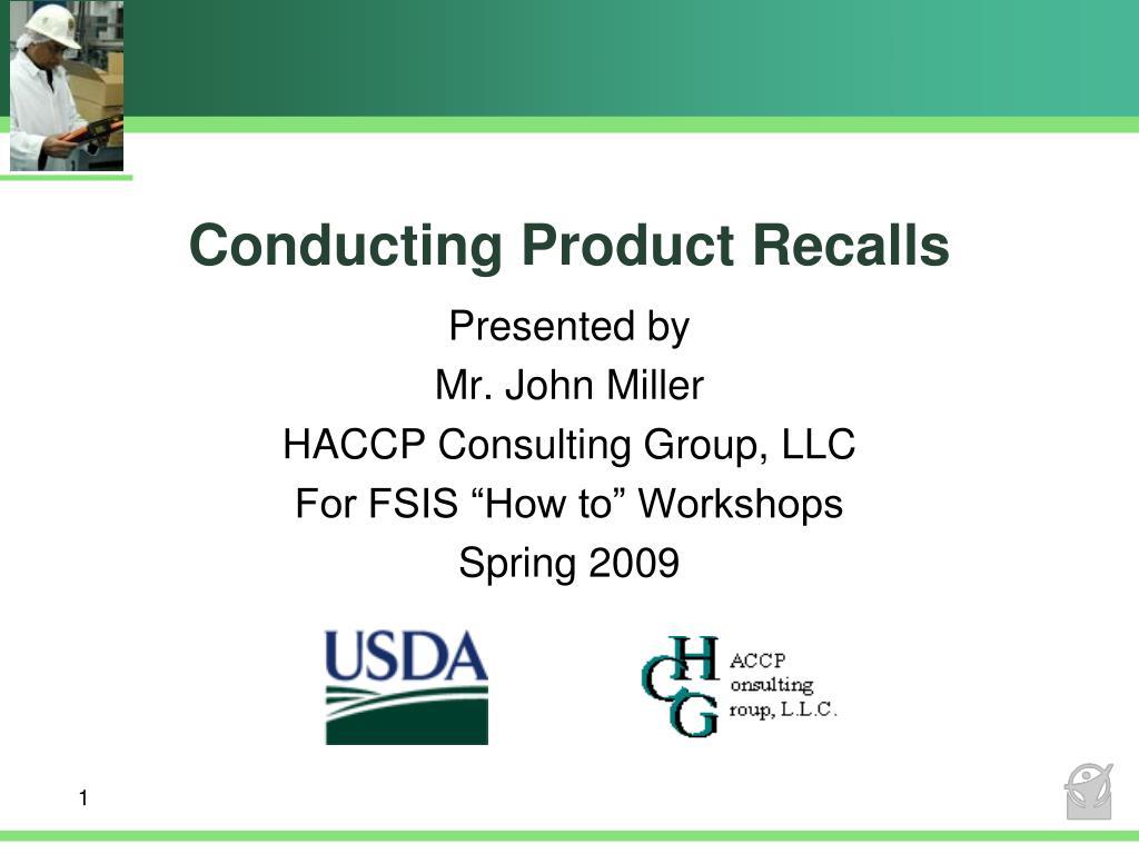 conducting product recalls l.