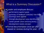 what is a summary discussion