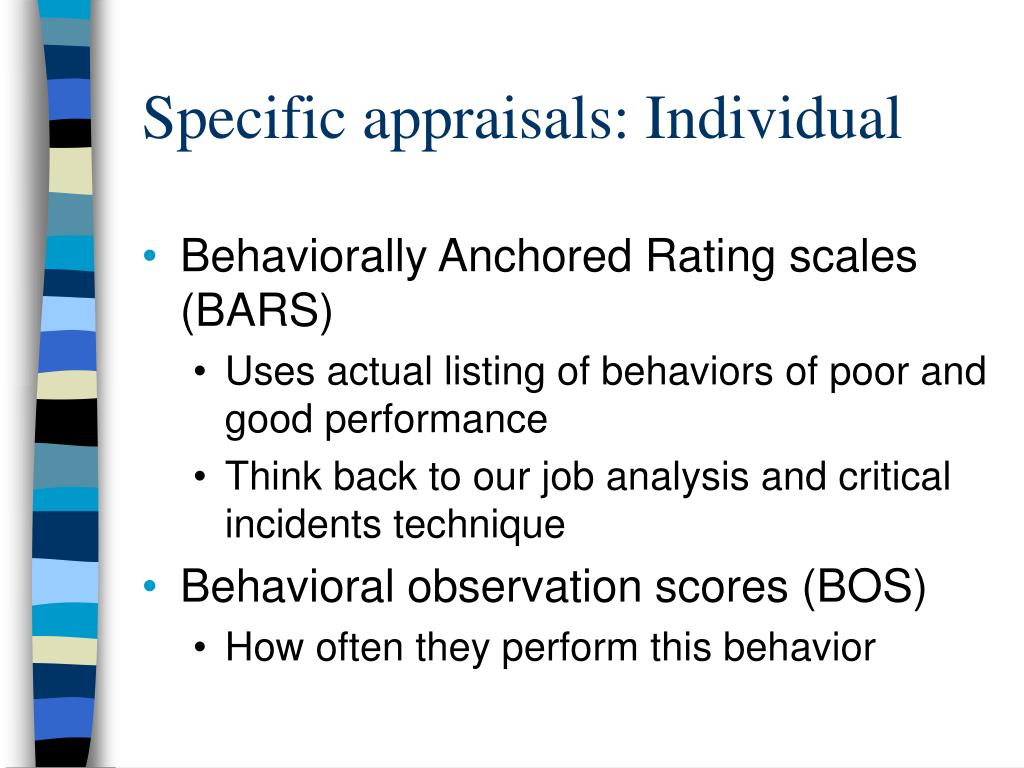 Specific appraisals: Individual