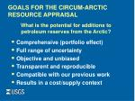 goals for the circum arctic resource appraisal