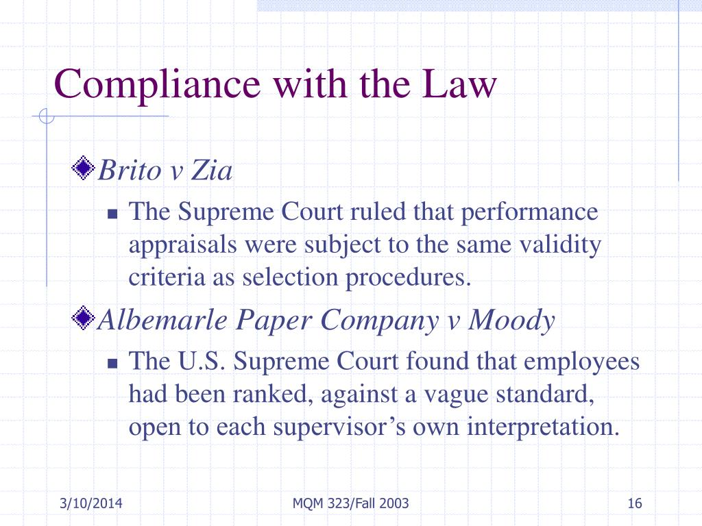 Compliance with the Law