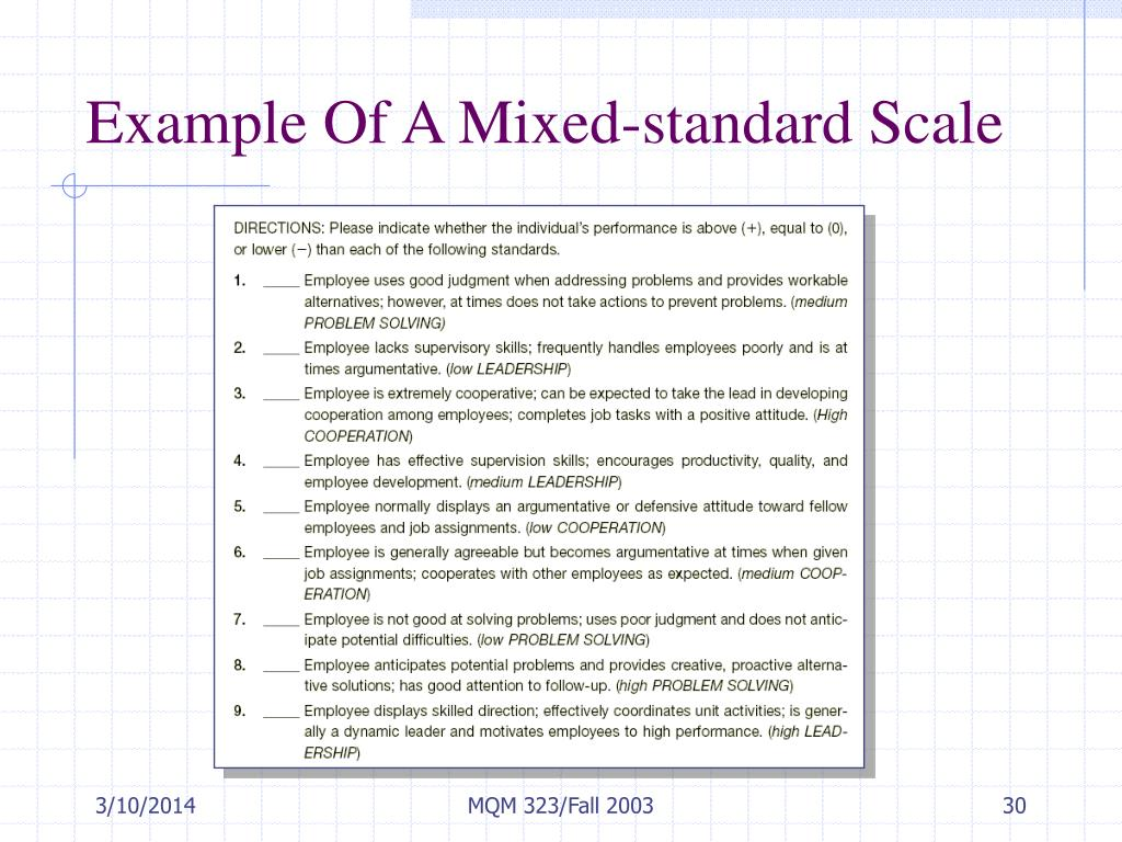 Example Of A Mixed-standard Scale