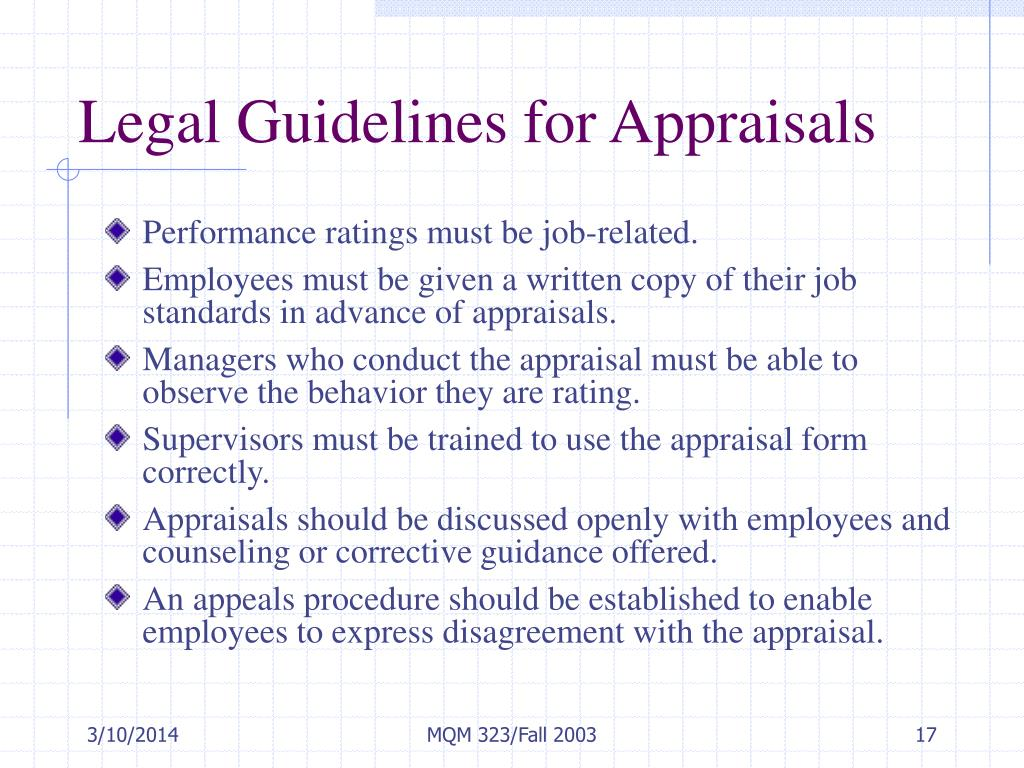 Legal Guidelines for Appraisals