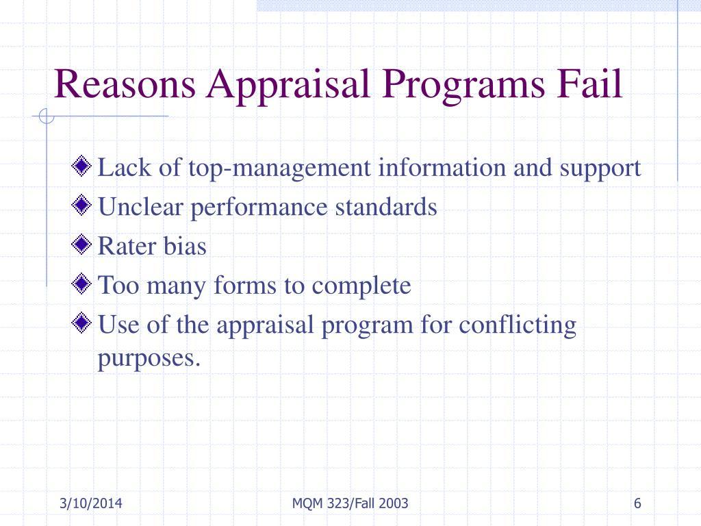 Reasons Appraisal Programs Fail