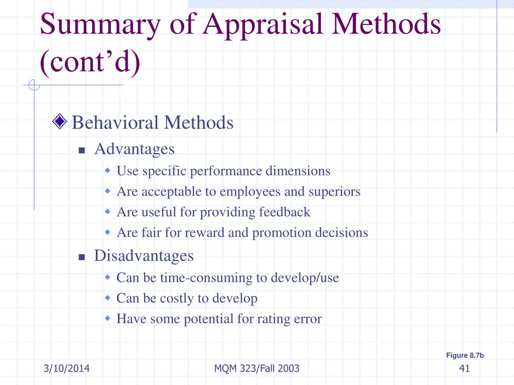 Summary of Appraisal Methods (cont'd)
