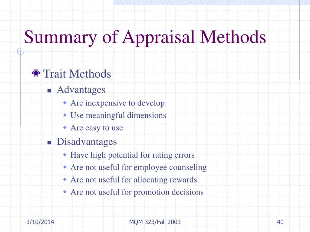 Summary of Appraisal Methods