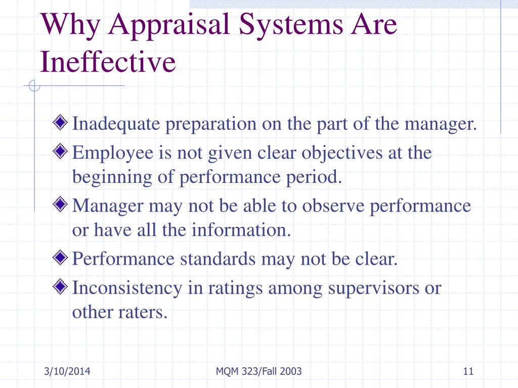 Why Appraisal Systems Are Ineffective