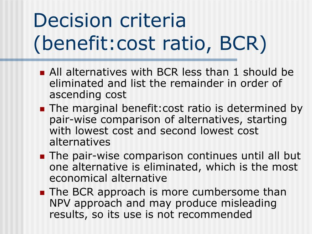 Decision criteria (benefit:cost ratio, BCR)