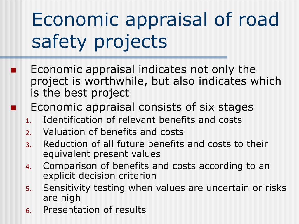 Economic appraisal of road safety projects