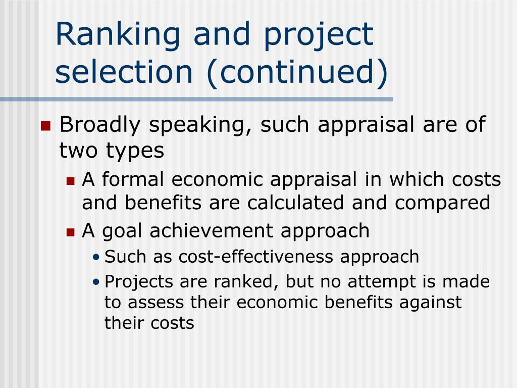 Ranking and project selection (continued)