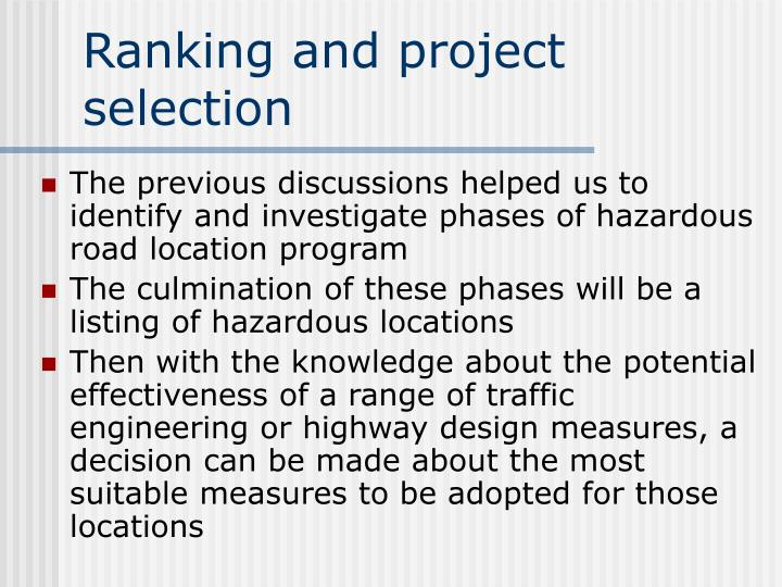 Ranking and project selection