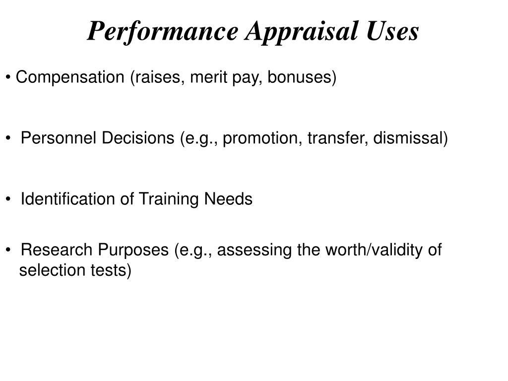 performance appraisal uses l.