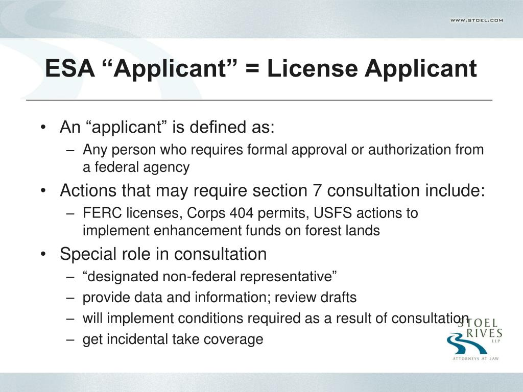 "ESA ""Applicant"" = License Applicant"