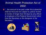 animal health protection act of 200234
