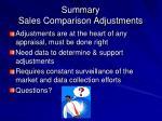 summary sales comparison adjustments