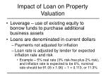 impact of loan on property valuation