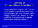 definition of evidence based public health