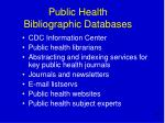 public health bibliographic databases