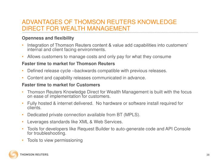 ADVANTAGES OF THOMSON REUTERS KNOWLEDGE DIRECT FOR WEALTH MANAGEMENT