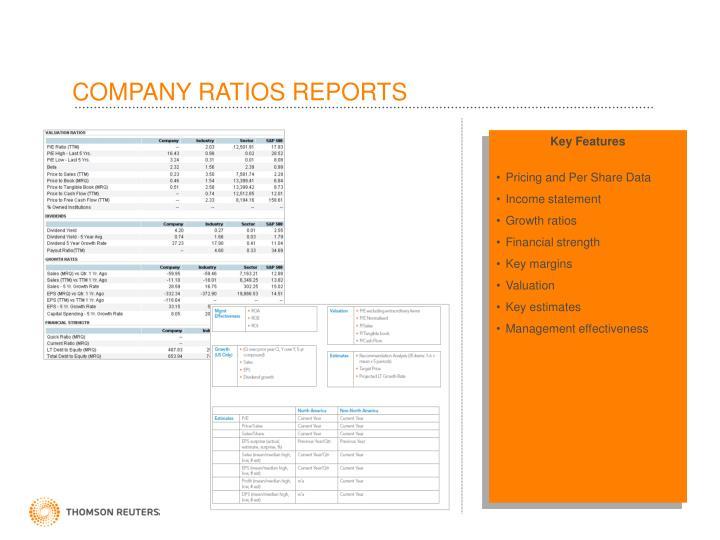 COMPANY RATIOS REPORTS