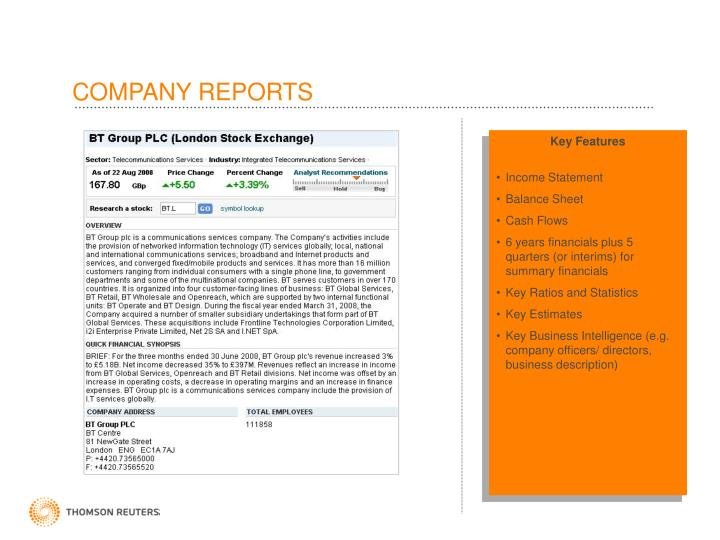 COMPANY REPORTS
