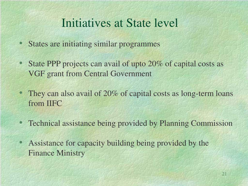 Initiatives at State level