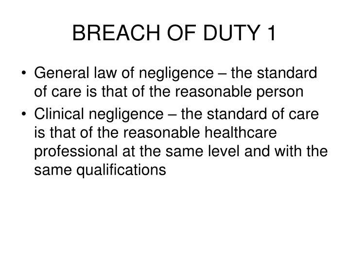 Breach of duty 1