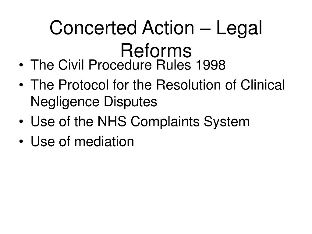 Concerted Action – Legal Reforms
