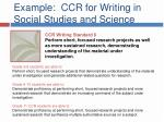 example ccr for writing in social studies and science