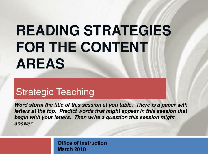 reading strategies for the content areas n.