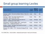 small group learning lexiles