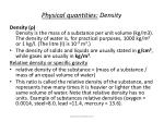 physical quantities density