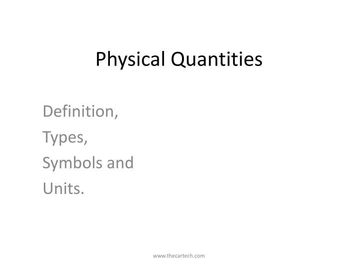 physical quantities n.