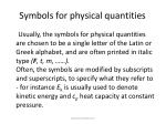 symbols for physical quantities