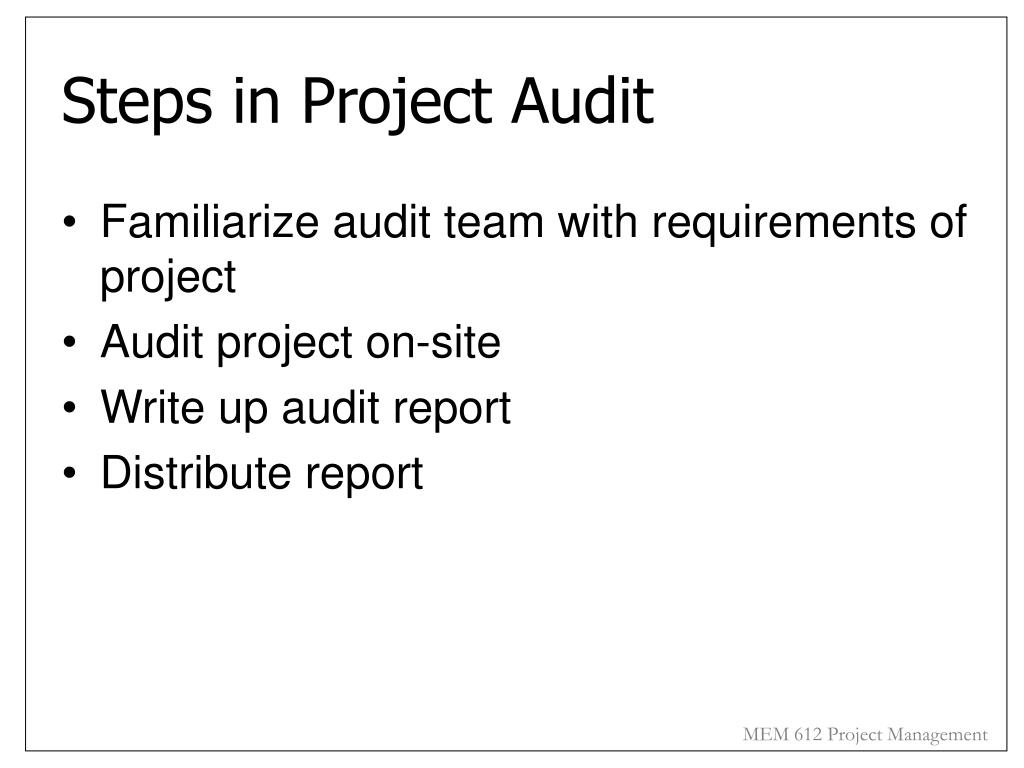 Steps in Project Audit