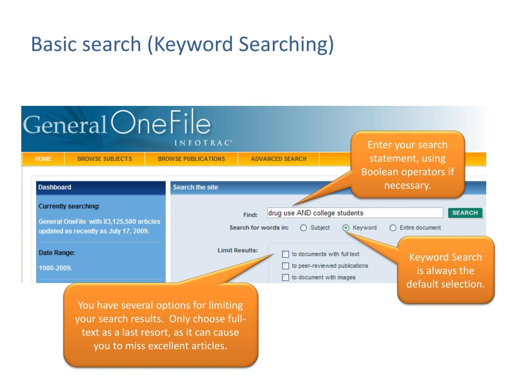 Basic search (Keyword Searching)