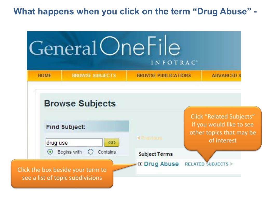 "What happens when you click on the term ""Drug Abuse"" -"