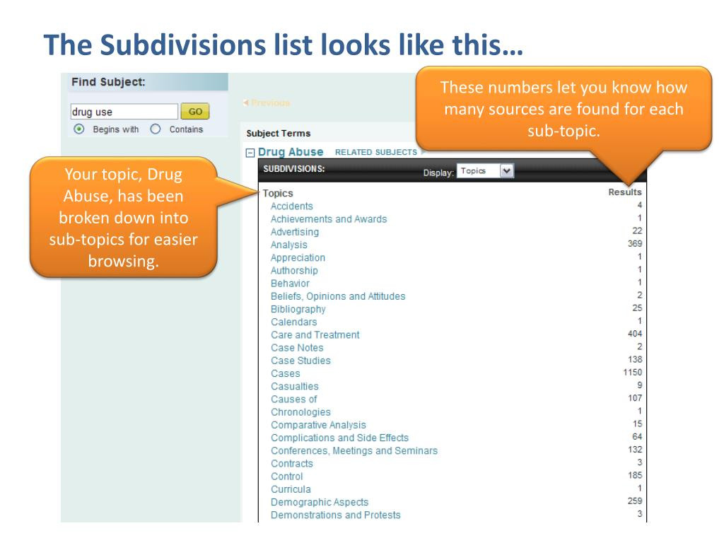 The Subdivisions list looks like this…