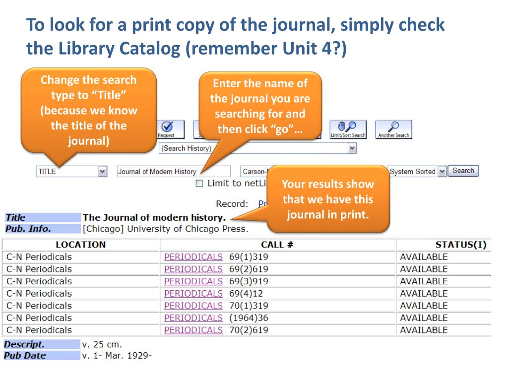 To look for a print copy of the journal, simply check the Library Catalog (remember Unit 4?)
