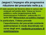 segue l impegno alla progressiva riduzione del precariato nelle p a