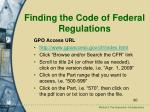 finding the code of federal regulations